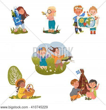 Little Children Enjoying Nature And Discovering Surrounding Environment Vector Set