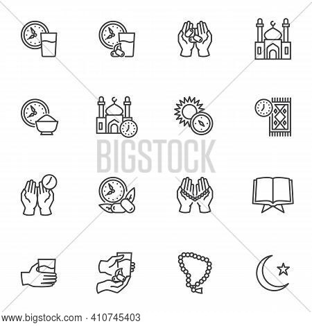 Ramadan Kareem Line Icons Set, Outline Vector Symbol Collection, Linear Style Pictogram Pack. Signs,