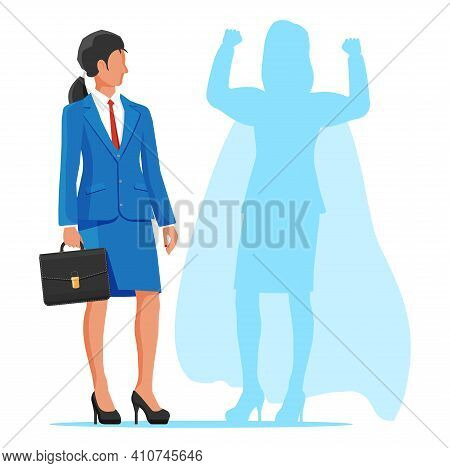 Businesswoman With Superhero Shadow. Super Hero Business Woman Shows Muscles. Ambition And Business