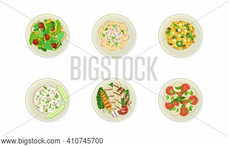 Vegan Dishes And Main Courses With Grilled Vegetables, Fresh Salad And Pasta With Mushrooms Vector S