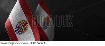 Small National Flags Of The French Polynesia On A Dark Background