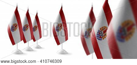 Set Of French Polynesia National Flags On A White Background