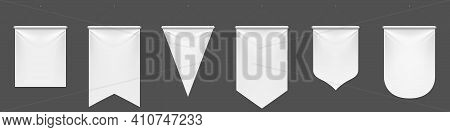 White Pennant Flags Mockup, Blank Vertical Banners On Flagpole With Rounded, Straight, Pointed And D