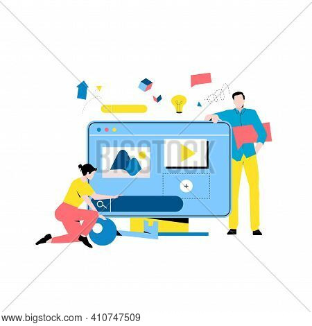 Digital Content Management, Creating Engaging Online Content, Online News Flat Vector Illustration D