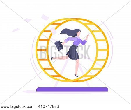 Rat Race Business Concept With Businesswoman Running In Hamster Wheel Working Hard And Always Busy F