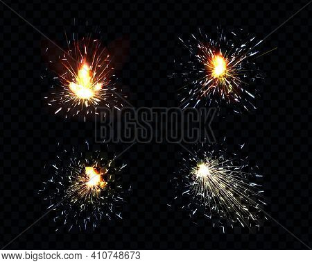 Sparks Fire Set, Sparkler, Petard Weld Or Firework Flare. Bright Glowing Light With Scatter Flying P