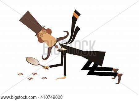 Cartoon Long Mustache Detective Illustration. Long Mustache Detective In The Top Hat Holding A Loupe