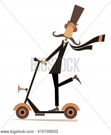 Mustache Man In The Top Hat Rides On Scooter Illustration. Long Mustache Gentleman In The Top Hat Ri