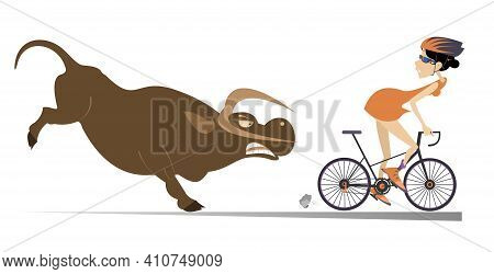 Angry Bull And Cyclist Woman Illustration. Frightened Cyclist Woman Escapes From The Angry Bull Isol