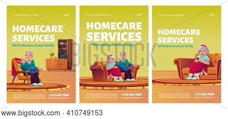 Homecare Services Posters. Social Aid And Care For Old Patients At Home Concept. Happy Senior Couple