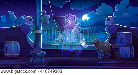 Ghost Of Pirate On Ship Deck With Black Jolly Roger Flag At Night. Vector Cartoon Illustration With