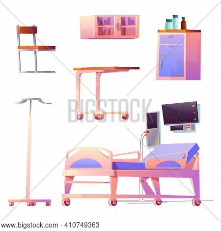 Clinic Ward Or Chamber Interior Stuff Isolated Hospital Items Bed, Life Support System, Computer, Ch