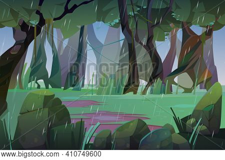 Rain In Summer Forest. Scene Of Jungle, Garden Or Natural Park At Rainy Weather. Vector Cartoon Land