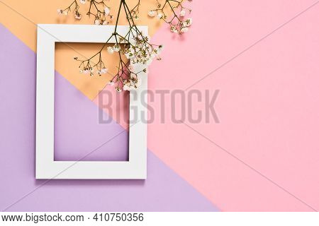 Beautiful Frame With Flowers Lying On A Colorful Background. Photo Frame Next To A Sprig Of Flowers