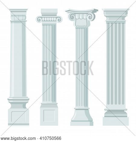 Vintage Classic Columns Flat Set For Web Design. Cartoon Pillars With Ornament In Renaissance Or Rom