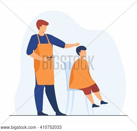 Professional Hairdresser Cutting Hairs Of Boy. Scissors, Hairstyle, Apron Flat Vector Illustration.