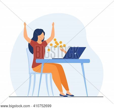 Happy Woman Earning Money With Help Of Computer. Wealth, Coin, Laptop Flat Vector Illustration. Free