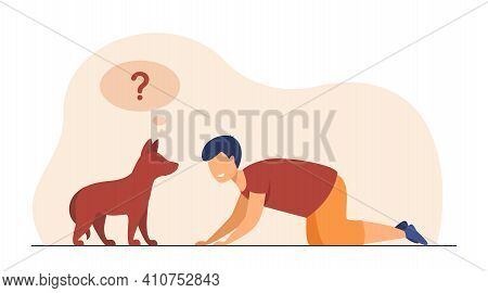 Happy Boy Playing With Dog On Floor. Pet, Friend, Game Flat Vector Illustration. Childhood And Domes