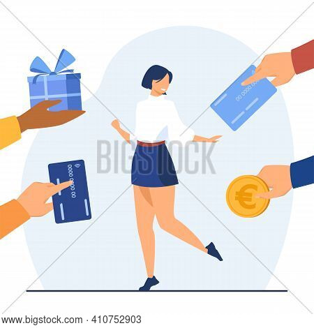 Cheerful Woman Surrounded By Hands With Gifts. Card, Box, Money Flat Vector Illustration. Wealth And