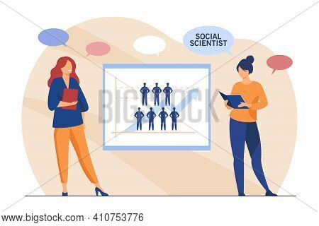 Two Female Social Scientists Studying People. Arrow, Analysis, Survey Flat Vector Illustration. Busi