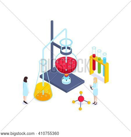 School Subjects Isometric Composition With Images Of Test Tube Set On Burner With People Vector Illu