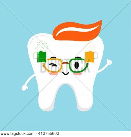 St Patrick Day Tooth With Beer On Eyeglasses. Cute Dental Teeth Character With Photo Booth Props Eye