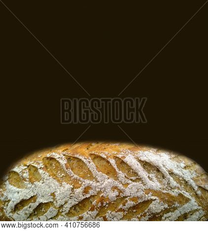 Fresh Baked Bread On Dark Brown Background. Natural Bakery Products. Bread Making Concept. Banner Ba