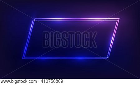 Neon Double Quadrangle Frame With Shining Effects On Dark Background. Empty Glowing Techno Backdrop.