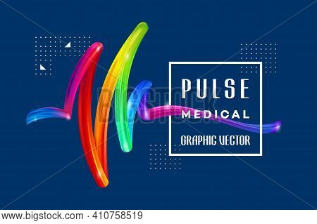 Colorful Background, Colorful Pulse Medical On The Background Of A Colorful Brushstroke Oil Or Acryl