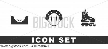 Set Skate Park, Parachute And Roller Skate Icon. Vector