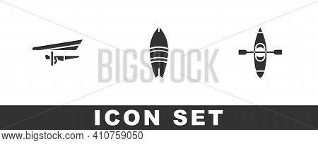 Set Hang Glider, Surfboard And Kayak Or Canoe Icon. Vector