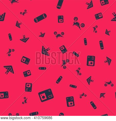 Set Action Extreme Camera, Skateboard Trick, Hang Glider And Mountain Bike On Seamless Pattern. Vect