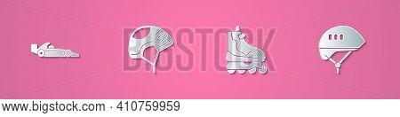Set Paper Cut Formula 1 Racing Car, Helmet, Roller Skate And Bicycle Helmet Icon. Paper Art Style. V