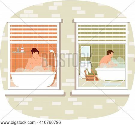 View From Window On Guys Resting In Home Sauna With Steam. Men Are Taking Bath. Male Characters Lyin