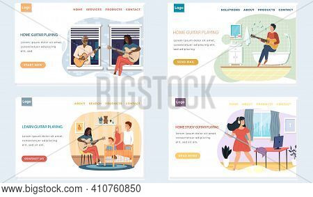 Set Of Illustrations With People Playing Guitar At Home. Guitarists Use Stringed Musical Instrument.