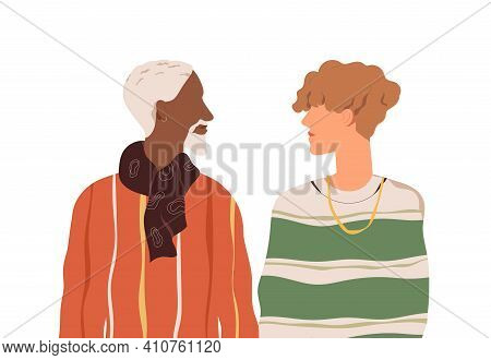 Romantic Homosexual Couple Of Two Enamored Men Of Different Age And Race. Multiracial Love Partners.