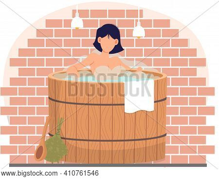 Young Woman Sitting In Tub. Bathhouse Or Banya At Home Interior Design. Sexy Girl In Barrel Is Resti