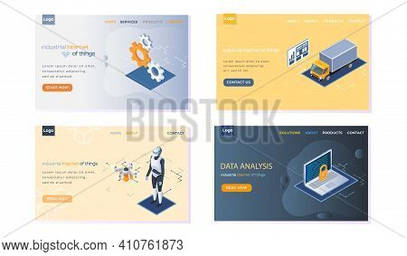 Industrial Internet Of Things Landing Page Set Of Four Templates. Artificial Intelligence And Big Da