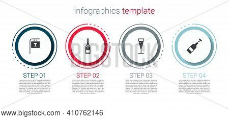 Set Street Signboard With Bar, Champagne Bottle, Glass Of Champagne And Opened Wine. Business Infogr