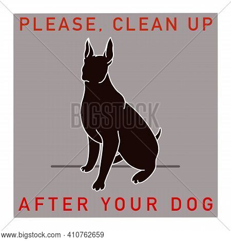 Clean Up After Your Dog. Clean Up Animal Excrement Flat Style Vector Icon