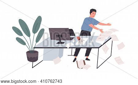 Awkward Employee Standing At Office Desk With Papers Falling Down On Floor. Concept Of Chaos And Mes