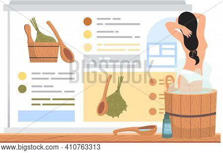 Naked Girl Stands In Barrel And Bathes. Woman In Tub Against Background Of Poster With Sauna Accesso
