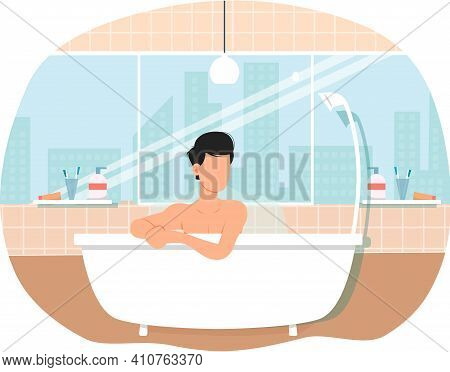 Man Sitting In Bathtub With Hot Water. Trendy Bathroom Modern Interior Design. Guy Is Steaming In Ba