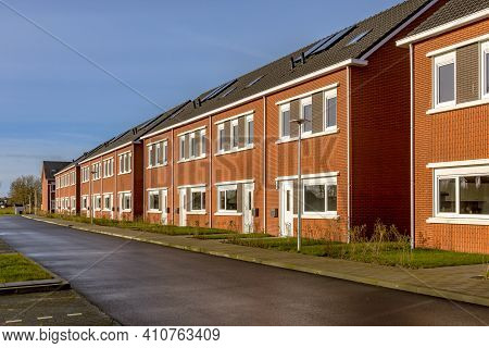 Brand New Development Of Basic Public Housing In A Village In The Netherlands. Neighborhood Scene Of