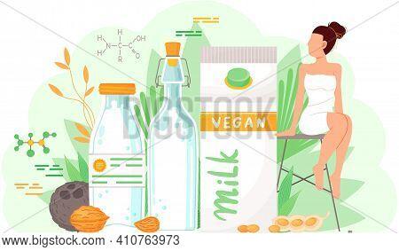 Plant-based Vegan Milk. Healthy Cow Alternative To Lactose Milk, Environmentally Friendly Product. S