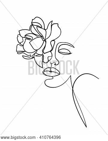Beauty Face With Flower Rose Line Drawing Art. Abstract Minimal Portrait Continuous Line. - Vector I