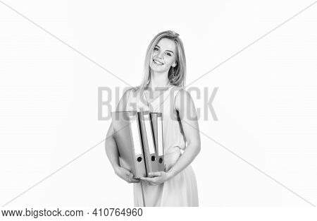 Businesswoman At Workplace And Reading Paper In Office. Business Woman Holding Documents In Hand. Gi