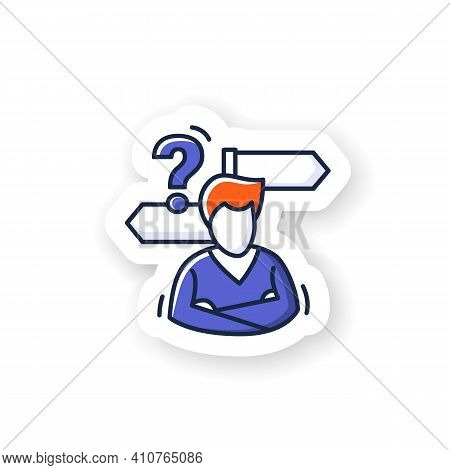 Decision Making Sticker. Person Avatar With Two Road Signs And Question Badge For Designs. Concept O