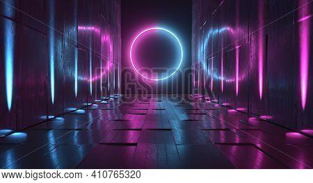 Sci Fi Future Neon Purple Blue Glowing Circle Shape Empty Dark Spaceship Tunnel Underground Vibrant