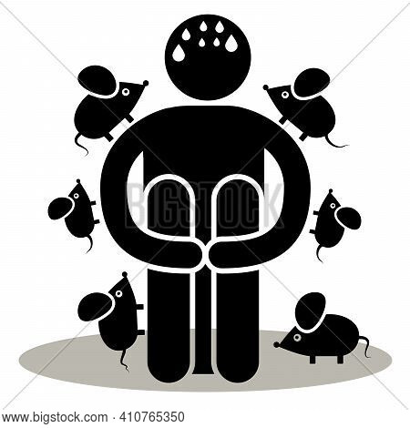 Musophobia, Murophobia. Fear Of Mice Or Rats Phobia. Silhouette Afraided Man. Can Be Used As Logo, I